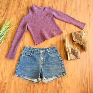 Vintage Cropped Wool Turtleneck Sweater
